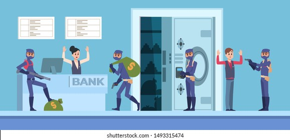 Bank robbery. Cartoon scene with criminal persons in mask and dark clothes stealing money from bank office. Vector organize rich thieves style design with cash bag