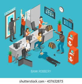 Bank Robbery Concept Isometric Vector Illustration