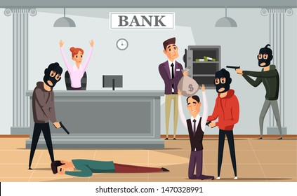 Bank robbery crime flat vector illustration. Armed gangsters attacking bankers. Robbers forcing bank employees and clients give money. Criminals in masks holding shotguns cartoon characters