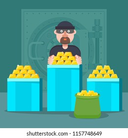 Bank robbery flat vector cartoon illustration. Bandit, swindler robbed a bank of gold. Gold and currency reserves, depository stores of money, gold and jewelry.