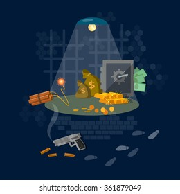 Bank robbery hacking safe theft of money crime scene security system vector illustration