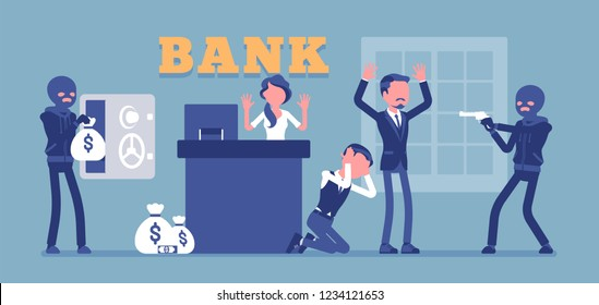 Bank robbery, masked criminals. Gangsters armed attack with force, violence organized to steal money from financial institution, poor office security service. Vector illustration, faceless characters