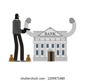Bank robbery. Robber and bag of money. burglar in mask. plunderer Vector illustration