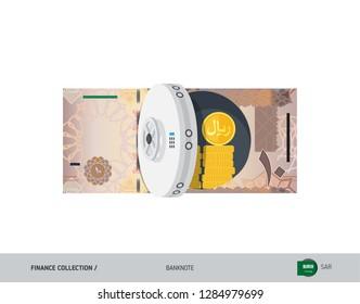Bank safe with 10 Saudi Arabia Riyal. Flat style vector illustration. Safe money concept.