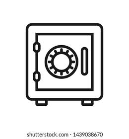 Bank safe box icon. Outline symbol closed safe. Vault pictogram. Vector illustration.