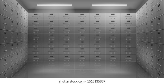 Bank safe boxes wall in vault. Individual deposit lockers in strongroom or underground secured storage 3d realistic vector illustration. Valuable possessions secure banking service concept background