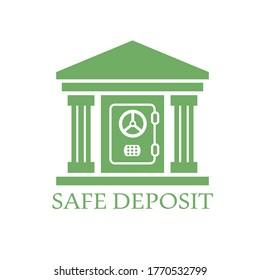 Bank safe deposit icon logo concept. Financial safety, protected vault. Secure banking symbol. Vector illustration.