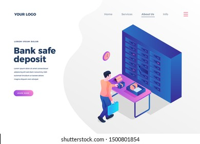 Bank safe deposit isometric landing page template. Client leaving money, golden ingots in safe cell cartoon character. Saving currency, precious things in bank depository promo homepage design layout