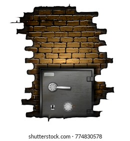 Bank safe in the frame of a brick wall.