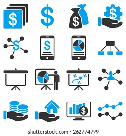 Bank service and business icons. These icon set uses modern corporate light blue and gray colors.