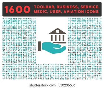 Bank Service vector icon and 1600 other business, service tools, medical care, software toolbar, web interface pictograms. Style is bicolor flat symbols, grey and cyan colors, rounded angles, white