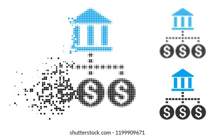Bank structure icon in disappearing, pixelated halftone and undamaged whole versions. Pieces are grouped into vector disappearing bank structure shape. Disappearing effect involves rectangular dots.