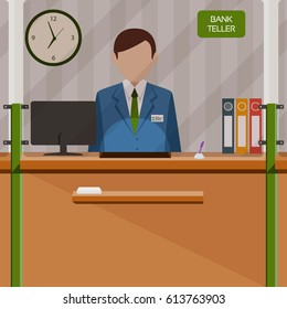 Bank teller behind the cash payment window. Vector illustration.