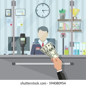 Bank teller behind window. Hand with cash. Books, cup, plant, clocks, computer and keypad terminal. Depositing money in bank account. People service and payment. Vector illustration in flat style