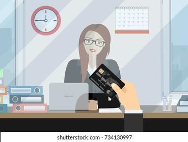 Bank teller behind window. Hand with bank card. Depositing money in bank account. People service and payment. illustration in flat style
