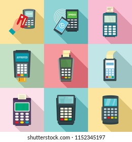 Bank terminal card credit machine icons set. Flat illustration of 9 Bank terminal card credit machine vector icons for web