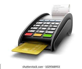 Bank terminal for payment purchases in store with golden credit card inside and paper check receipt. Device for processing payments e-commerce. Eps10 vector illustration isolated on white background.
