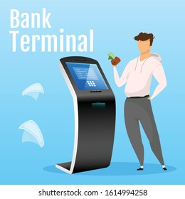 Bank terminal social media post mockup. Online banking web banner design template. Digital payment kiosk content layout with inscription. Automated teller machine poster and flat illustration