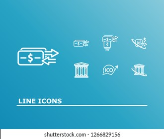 Bank transaction icon set and payment transfer with nfc payment, banking credit and cryptocurrency ico. Nfc transaction related bank transaction icon vector for web UI logo design.