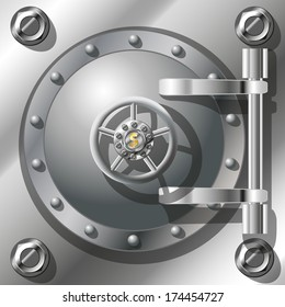 Bank Vault Door, detailed vector illustration. gradient mash