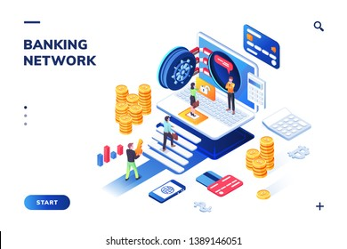 Bank vault with people queue. Isometric view on financial building with guard. Landing page for banking website or safety, secure technology for investor. Customer login for transaction service.