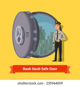 Bank vault room safe door with a officer guard. Opened with money inside. Flat style illustration. EPS 10 vector.