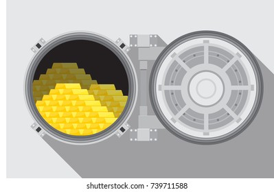 Bank vault room with a safe vector illustration.