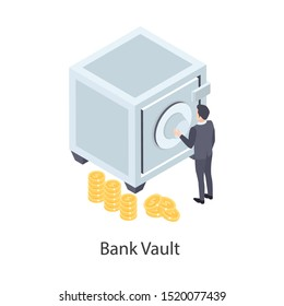Bank vault, secure space where money, valuables, records, and documents are stored. Isometric vector