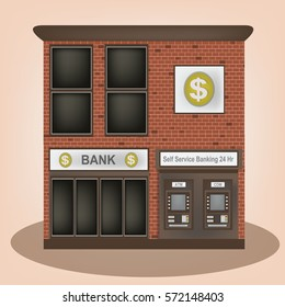Bank vintage old building facade icon retro style.