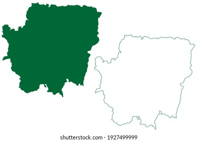 Banka district (Bihar State, Bhagalpur division, Republic of India) map vector illustration, scribble sketch Banka map