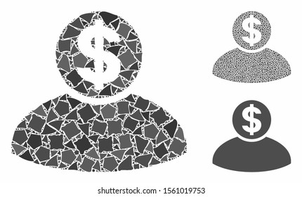 Banker composition of uneven items in variable sizes and color hues, based on banker icon. Vector rough items are united into collage. Banker icons collage with dotted pattern.