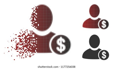 Banker icon in dispersed, dotted halftone and undamaged whole versions. Pieces are composed into vector dispersed banker icon.