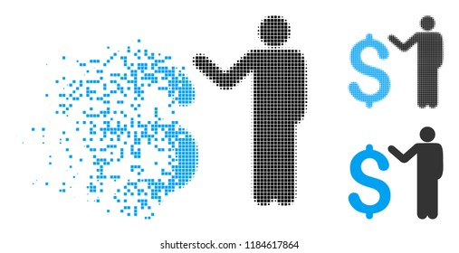 Banker icon in dispersed, dotted halftone and original variants. Particles are combined into vector disappearing banker form. Disappearing effect uses square particles.