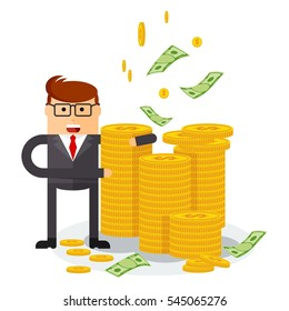 Banker with money. Flat vector cartoon illustration. Objects isolated on a white background.