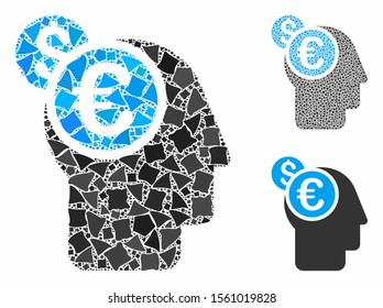 Banker mosaic of bumpy items in different sizes and color hues, based on banker icon. Vector bumpy dots are combined into mosaic. Banker icons collage with dotted pattern.