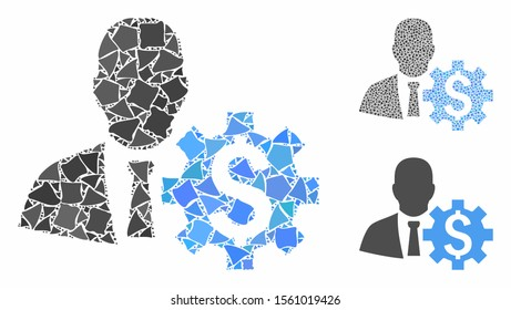 Banker options mosaic of bumpy elements in various sizes and color tints, based on banker options icon. Vector bumpy parts are combined into collage. Banker options icons collage with dotted pattern.