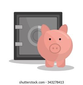 Bank,global economy and money savings graphic, vector illustration design