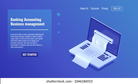 Banking accounting, business and financial managements concept, electronic bill payment notification, open laptop isometric icon, vector illustration