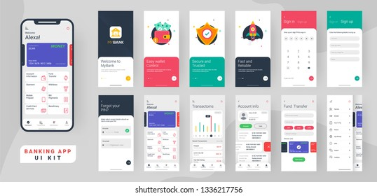 Banking app ui kit for responsive mobile app or website with different layout including login, create account, user profile, transaction and notification screens.