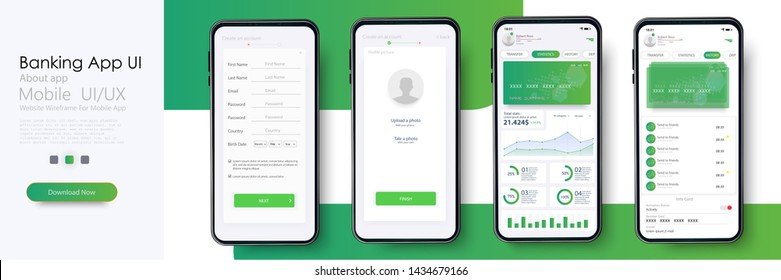 Banking App UI, UX Kit for responsive mobile app or website with different GUI layout including Login, Create Account, Profile, Transaction and Notification screens. Vector illustration