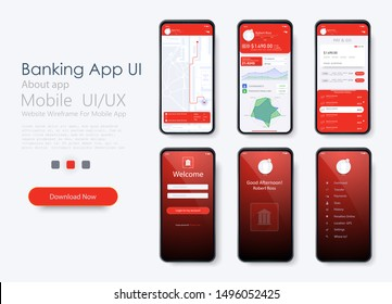 Banking App UI, UX, Kit for responsive mobile app or website with different GUI layout including Login. login and password input, home page, payment information, ratings and statistics.GPS.Vector flat