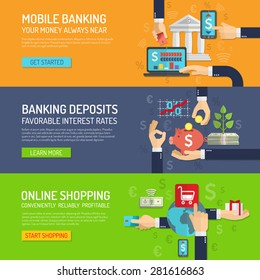 Banking banner horizontal set with mobile deposit and online shopping elements isolated vector illustration