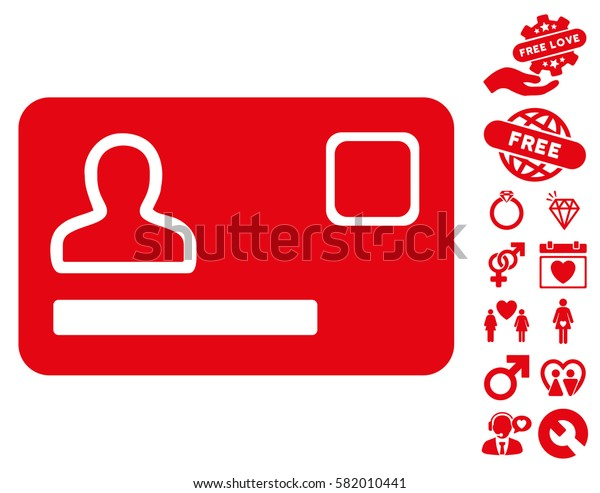 Banking Card icon with bonus lovely pictograph collection. Vector illustration style is flat iconic red symbols on white background.