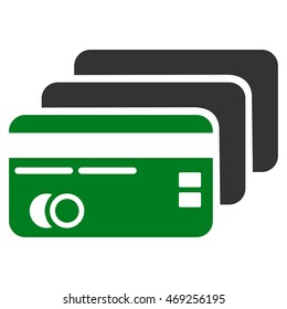 Banking Cards icon. Vector style is bicolor flat iconic symbol with rounded angles, green and gray colors, white background.
