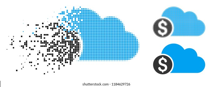 Banking cloud icon in fragmented, pixelated halftone and solid versions. Particles are grouped into vector disappearing banking cloud icon. Disappearing effect involves rectangle particles.