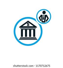 Banking conceptual logo, unique vector symbol. Banking system. The banker, successful businessman.