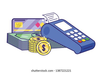 Banking dataphone coin and bill stack