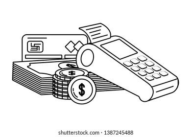 Banking dataphone coin and bill stack black and white