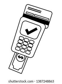 Banking dataphone operation service black and white