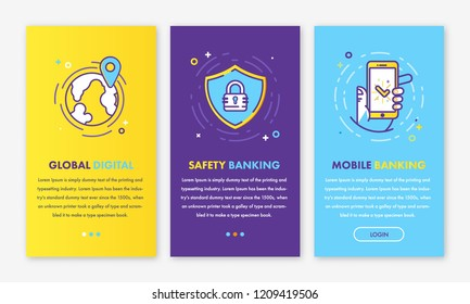 Banking digital i Illustration of app screens and web concept safety mobile application for mobile apps in line style. colorful creative icons interface UX, UI GUI screen template for web site